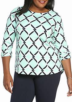 Crown & Ivy™ Plus Size Printed Ponte Top