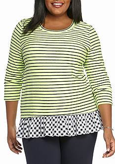 Crown & Ivy™ Plus Size Stripped Peplum Two-In-One Top