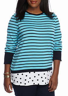 crown & ivy™ Plus Size Long Sleeve Cross Back 2Fer Sweater