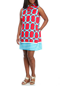 Crown & Ivy™ Plus Size Sleeveless Print Ruffle Neck Dress
