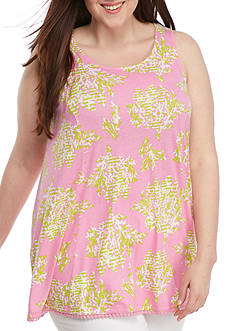 Crown & Ivy™ Plus Size Print Long Swing Tank