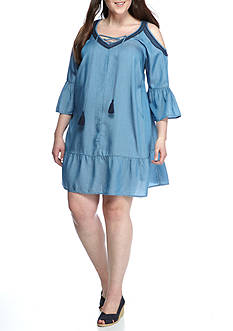 Crown & Ivy™ Plus Size Open Shoulder Chambray Dress