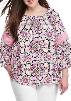 Crown & Ivy™ Plus Size Print Elastic Neck Top