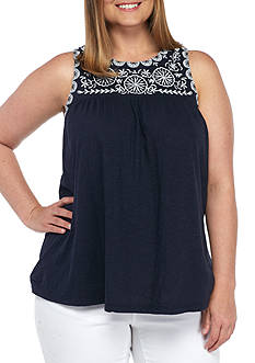 Crown & Ivy™ Plus Size Embellished Tank Top