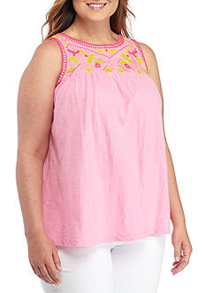 Crown & Ivy™ Plus Size Embroidered Yoke Tank Top
