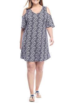Crown & Ivy™ Plus Size Cold Shoulder Knit Dress
