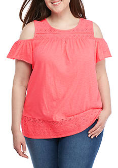 Crown & Ivy™ Plus Size Cold Shoulder Top