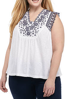 Crown & Ivy™ Plus Size Contrast Trim Sleeveless Top