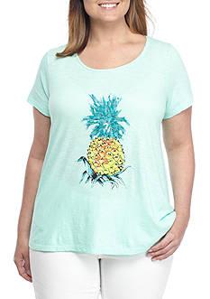Crown & Ivy™ Plus Size Pineapple Poetry Tee
