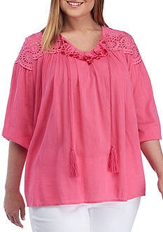 Crown & Ivy™ Plus Size Ruffled Tie Neck Top
