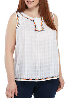 Crown & Ivy™ Plus Size Dobby Popover Top