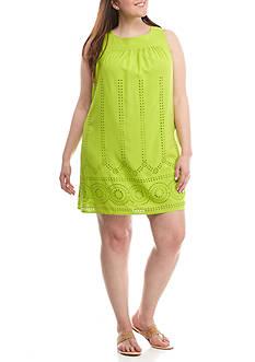 Crown & Ivy™ Plus Size Sleeveless Eyelet Dress