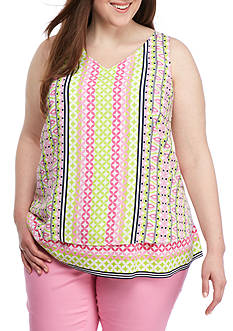 Crown & Ivy™ Plus Size Roads Double Layer Tank