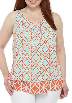 Crown & Ivy™ Plus Size Print Double Layer Sleeveless Top