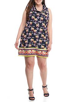 Crown & Ivy™ Plus Size Sleeveless Ruffle Neck Dress