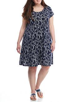 Crown & Ivy™ Plus Size Flamingo Print Knit Dress