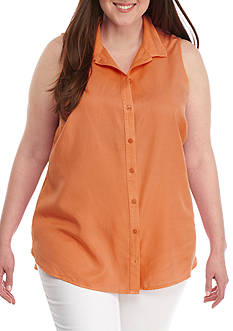 Crown & Ivy™ Plus Size Solid Tencel® Shirt