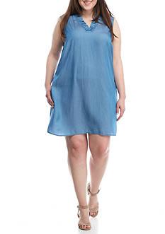 Crown & Ivy™ Plus Size Sleeveless Chambray Dress