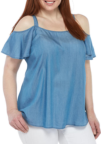 Crown & Ivy™ Plus Size Cold-Shoulder Chambray Top