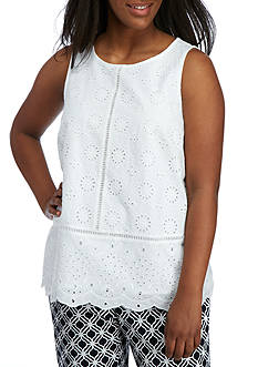 Crown & Ivy™ Plus Size Eyelet Knit Tank