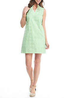 Crown & Ivy™ The Eyelet Sleeveless Shift Dress