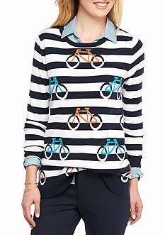 Crown & Ivy™ Intarsia Bicycle Sweater