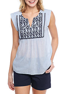 Crown & Ivy™ Embroidered Bib Top