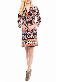 crown & ivy™ Three-quarter Sleeve Twin Print Dress