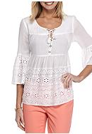 Crown & Ivy™ Eyelet Trim Lace Up Top