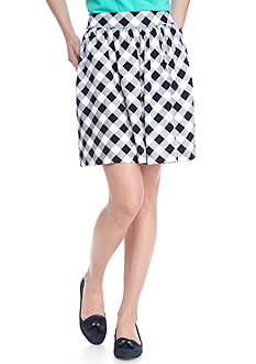 crown & ivy™ Print Check Short Skirt