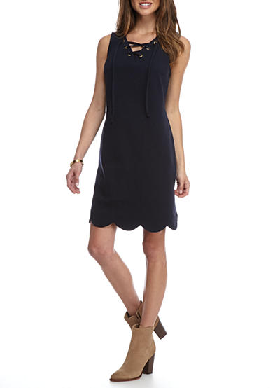 Crown & Ivy™ Solid Lace Up Shift Dress