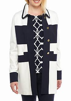 crown & ivy™ Color Block Long Jacket