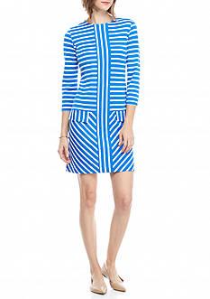 Crown & Ivy™ Three Quarter Sleeve Pieced Dress