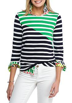 crown & ivy™ Long Sleeve Stripe Ponte Top