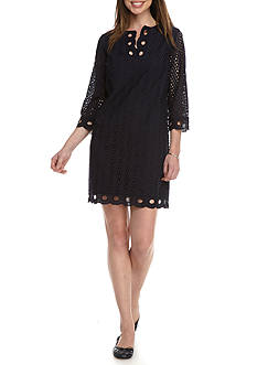 Crown & Ivy™ Three Quarter Sleeve Detailed Lace Dress