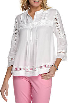 crown & ivy™ Textured Peasant Blouse