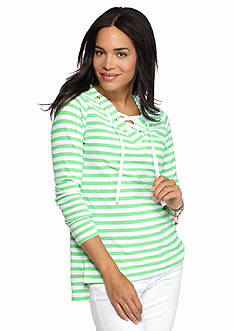 crown & ivy™ beach Lace-Up Stripe Tunic