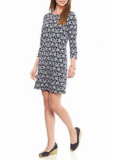 crown & ivy™ 3/4 Sleeve Elephant Print Dress
