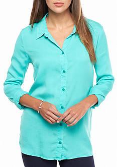 crown & ivy™ beach Side Button Beach Shirt