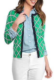 Crown & Ivy™ Printed Cardigan With Front Buttons