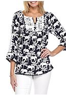 Crown & Ivy™ 3/4 Sleeve Pom Trim Peasant Top