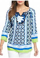 crown & ivy™ Bold Blend Pom Peasant Top