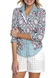 Crown & Ivy™ Print Button Front Cardigan