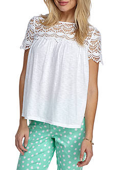 Crown & Ivy™ Short Sleeve Lace Knit Top