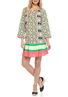 Crown & Ivy™ Printed Split Neck Dress