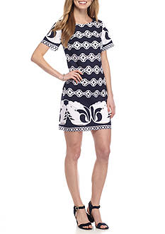 Crown & Ivy™ Short Sleeve Printed Lace Dress