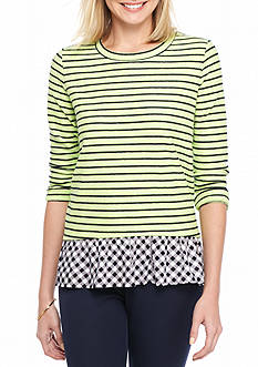 Crown & Ivy™ Striped Peplum 2-Fer Top