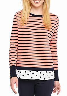 Crown & Ivy™ Long Sleeve Cross Back 2-Fer Sweater