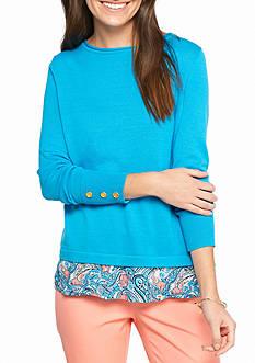 Crown & Ivy™ Long Sleeve Cross Back 2Fer Sweater
