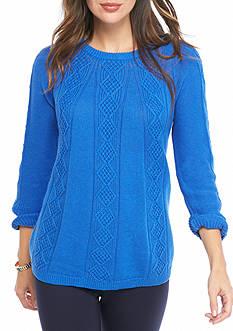 Crown & Ivy™ Cableknit Sweatshirt